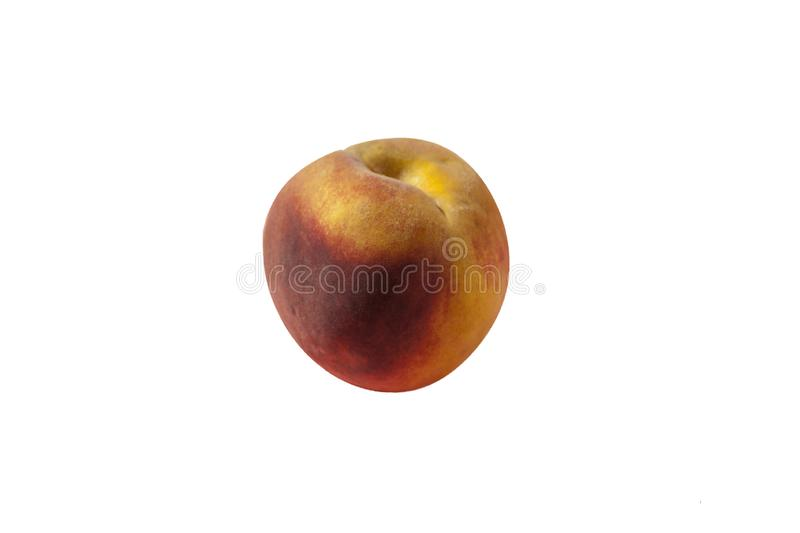 Ripe natural fruit of pink-yellow peach on a white background.  stock image