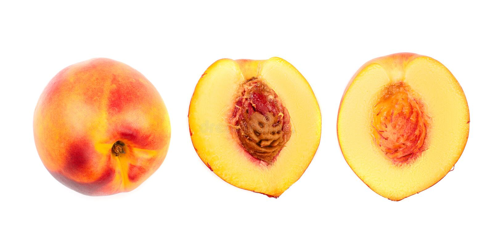 Ripe nectarine isolated on white background. Top view. Flat lay pattern.  stock images