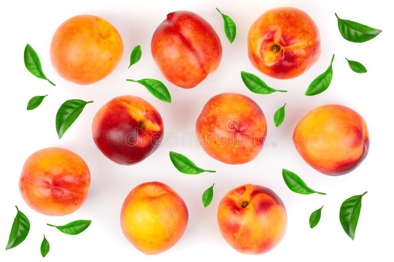 Ripe nectarine with leaves isolated on white background. Top view. Flat lay pattern.  royalty free stock images