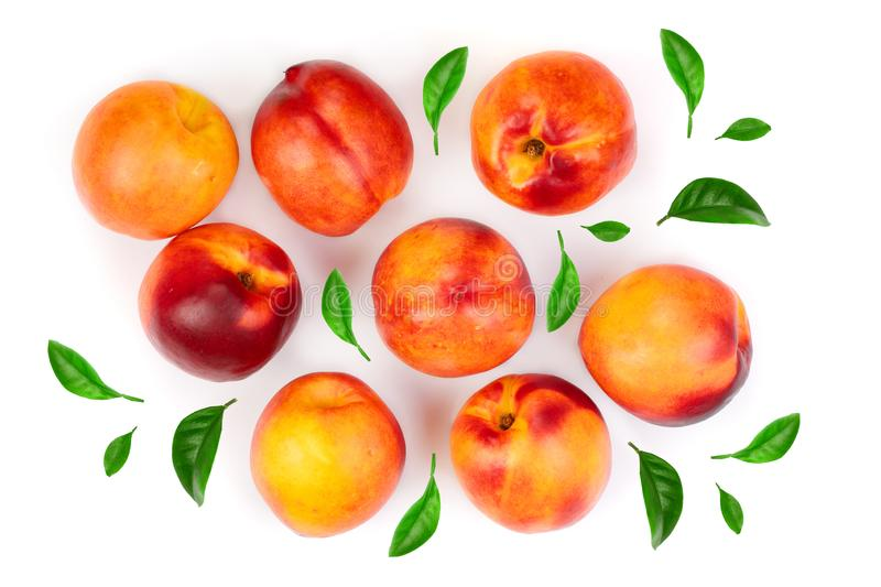 Ripe nectarine with leaves isolated on white background. Top view. Flat lay pattern.  stock images
