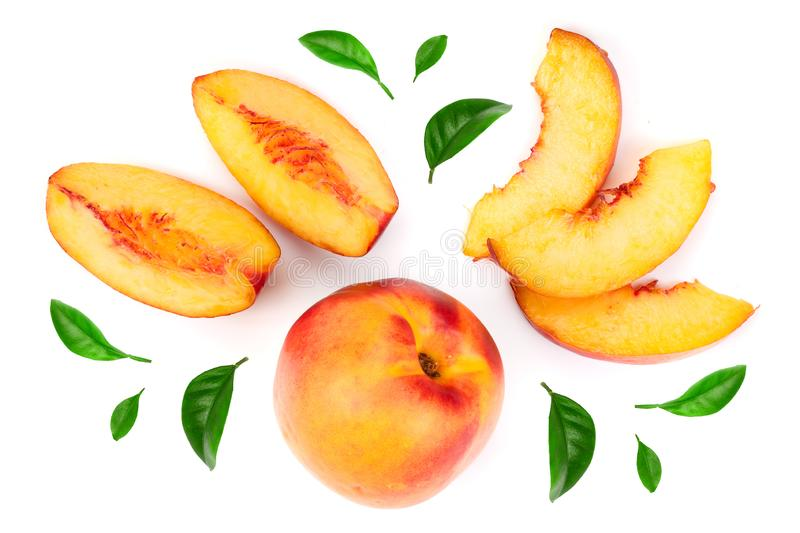 Ripe nectarine with leaves isolated on white background. Top view. Flat lay pattern.  royalty free stock image