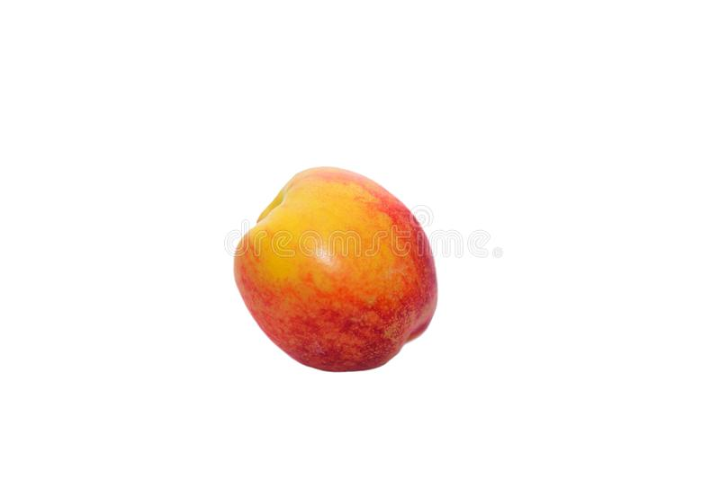 Ripe nectarine on white isolate background, closeup. Healthy food, fruits, summer concept stock photography