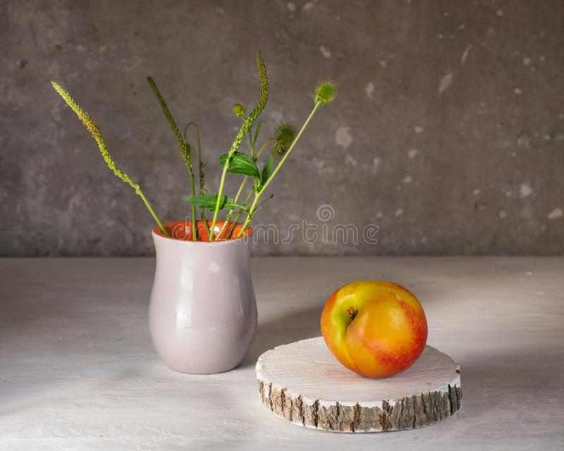 Ripe nectarines on a white background, a wooden disc and meadow grasses in a small grey ceramic vase royalty free stock photography