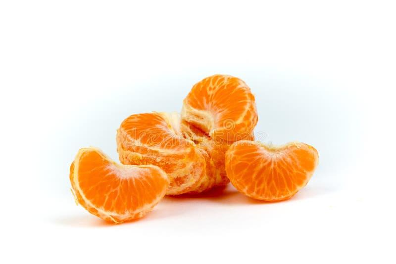 Ripe orange fresh mandarin , clean mandarin, mandarin slices, on white background. royalty free stock photos