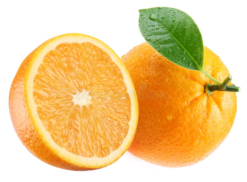 Download Ripe Orange And Its Half With Leaf. Stock Photo - Image: 16809446