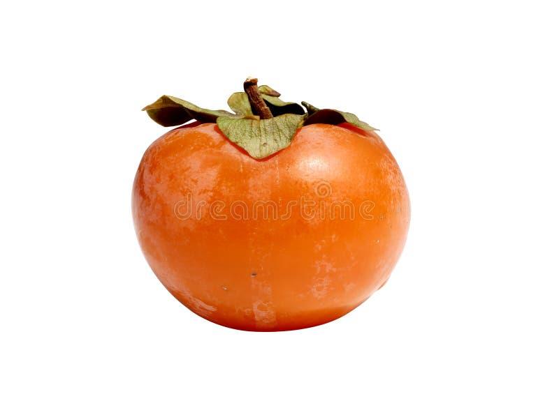 Single kaki isolated on white.Ripe orange tropical persimmon fruit on white. Ripe orange red persimmon fruit.fresh kaki  isolated on white background.Single stock photography
