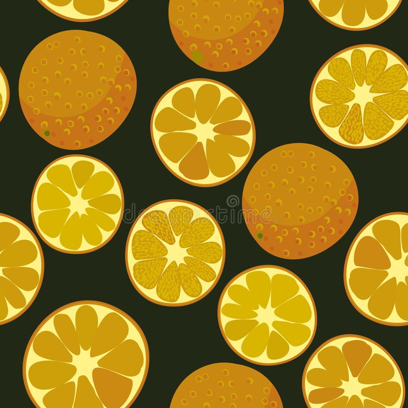 Ripe oranges on dark background seamless vector pattern. Sweet juicy oranges seamless vector pattern. Sliced and whole orange fruits stock illustration