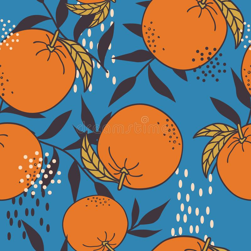 Ripe oranges and leaves, colorful seamless pattern. Decorative background with citrus fruits. Fresh oranges, leaves background. Hand drawn overlapping backdrop royalty free illustration