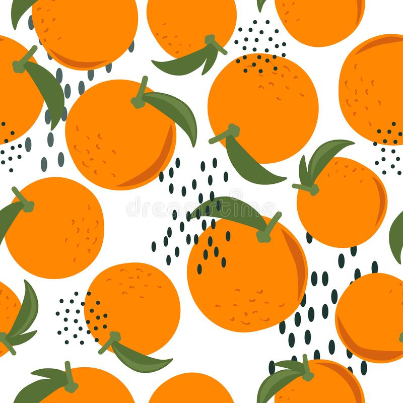 Ripe oranges, leaves, colorful seamless pattern. Decorative background with citrus fruits. Fresh oranges, leaves background. Hand drawn overlapping backdrop vector illustration