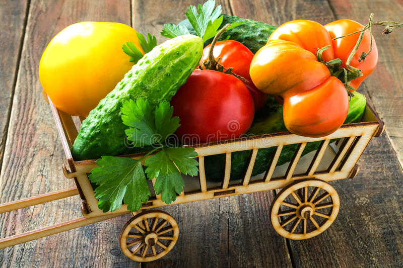 Ripe organic cucumbers and tomatoes stock photography
