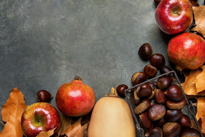Ripe Organic Red Glossy Apples Pomegranates Chestnuts in Wicker Basket Dry Autumn Leaves Scattered on Dark Stone Background. royalty free stock photos