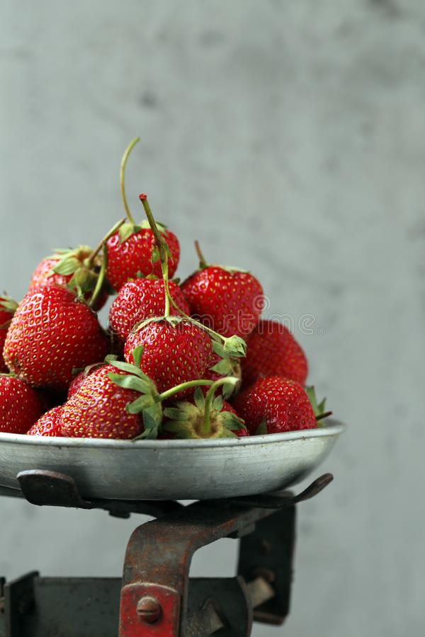 Sweet strawberries. Ripe organic sweet strawberries on the table stock photos