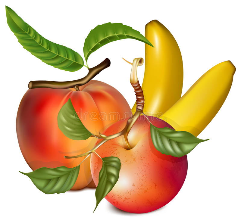 Download Ripe Peach, Apple And Banana. Stock Photo - Image: 18778480