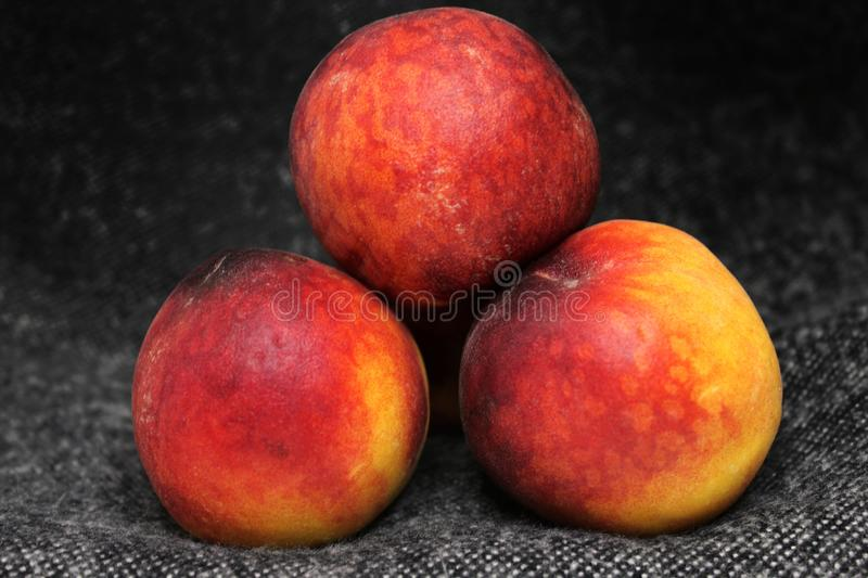 The  peach on the dark background stock images