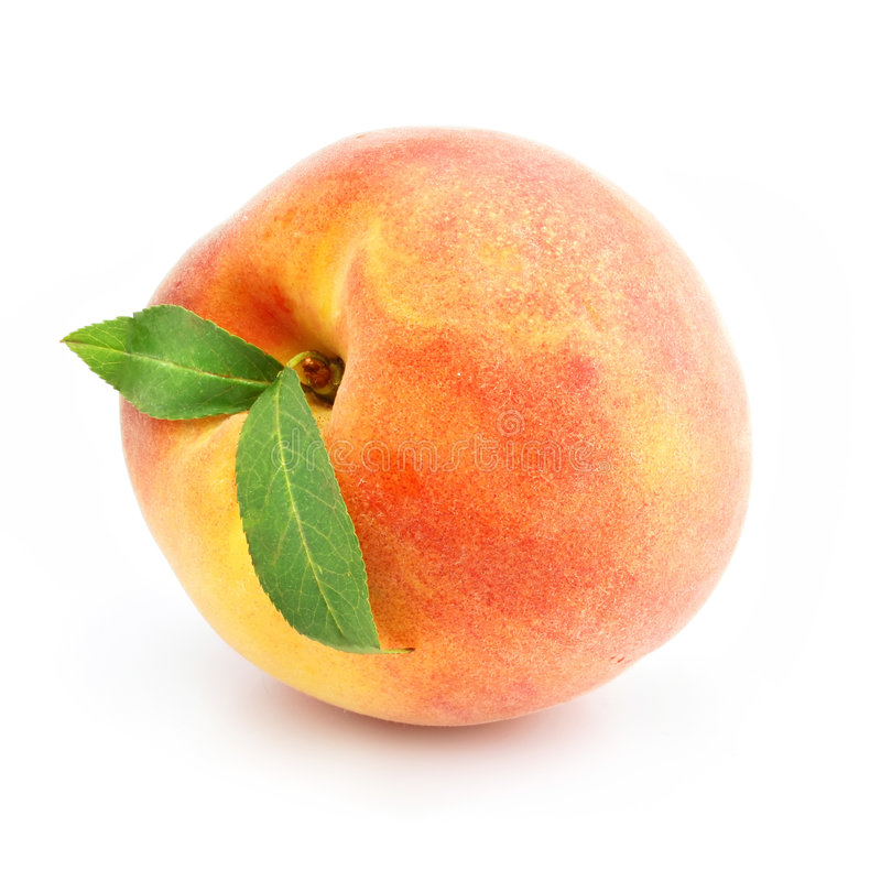 Free Ripe Peach Fruit With Green Leafs Isolated Royalty Free Stock Photos - 5555618