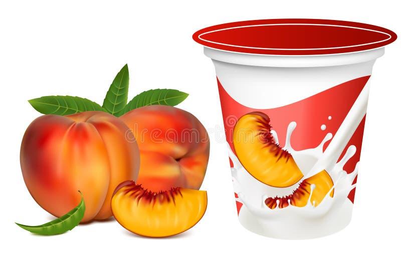 Download Ripe  Peaches Falling Into The Milky Splash. Stock Vector - Image: 14052092