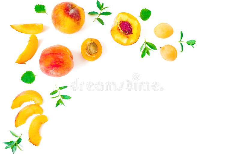 Ripe peaches with leaves isolated on white background. Top view. Flat lay with copy space stock photography
