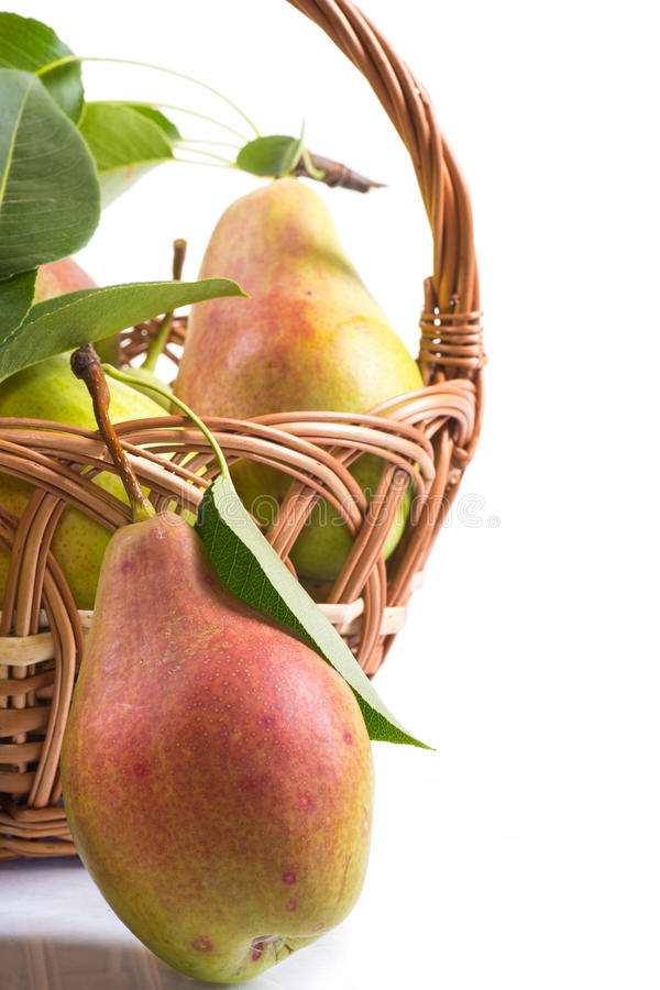 Download Ripe pears in a basket stock photo. Image of freshness - 33211228