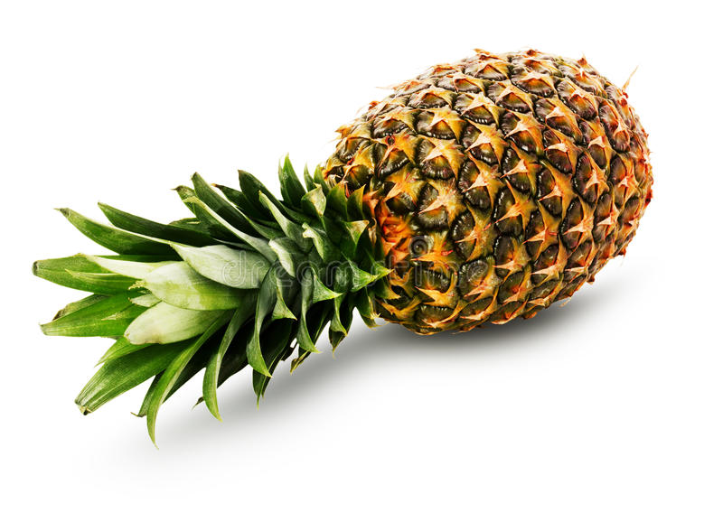 Ripe pineapple isolated on the white background royalty free stock photos