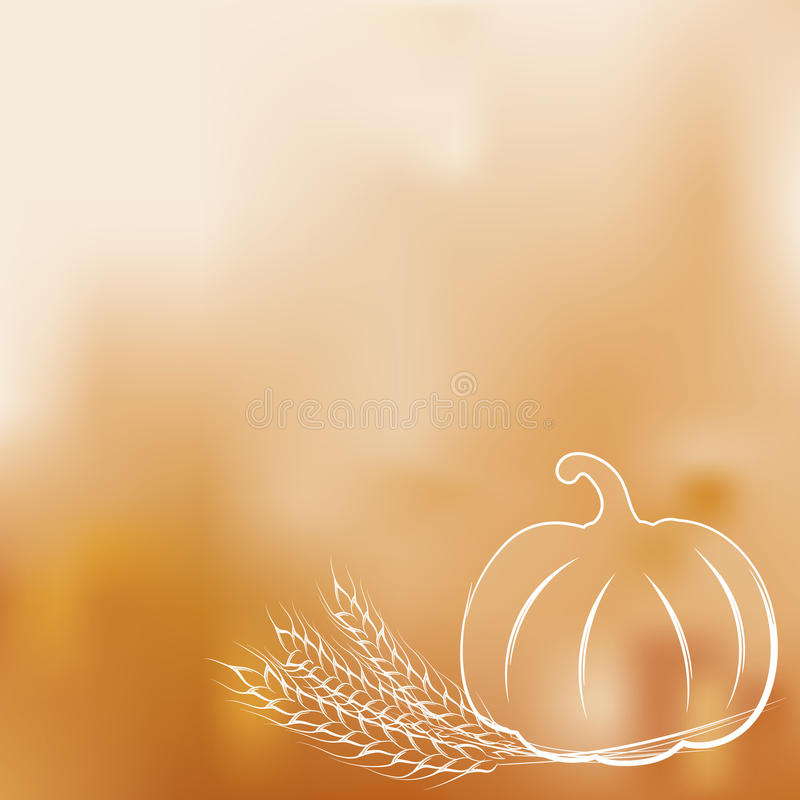 Ripe pumpkin and wheat ears on a gradient mesh background. Vector illustration of ripe pumpkin and wheat ears on a gradient mesh background. EPS10 royalty free illustration