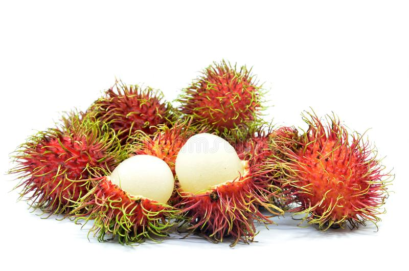 Ripe rambutan isolated. On the white background stock images