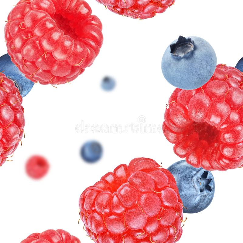 Ripe raspberry and blueberry seamless texture or pattern royalty free stock images