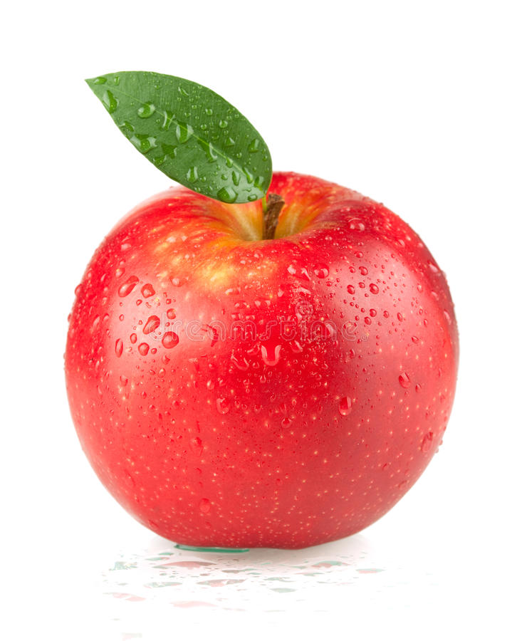 A ripe red apple with green leaf stock images