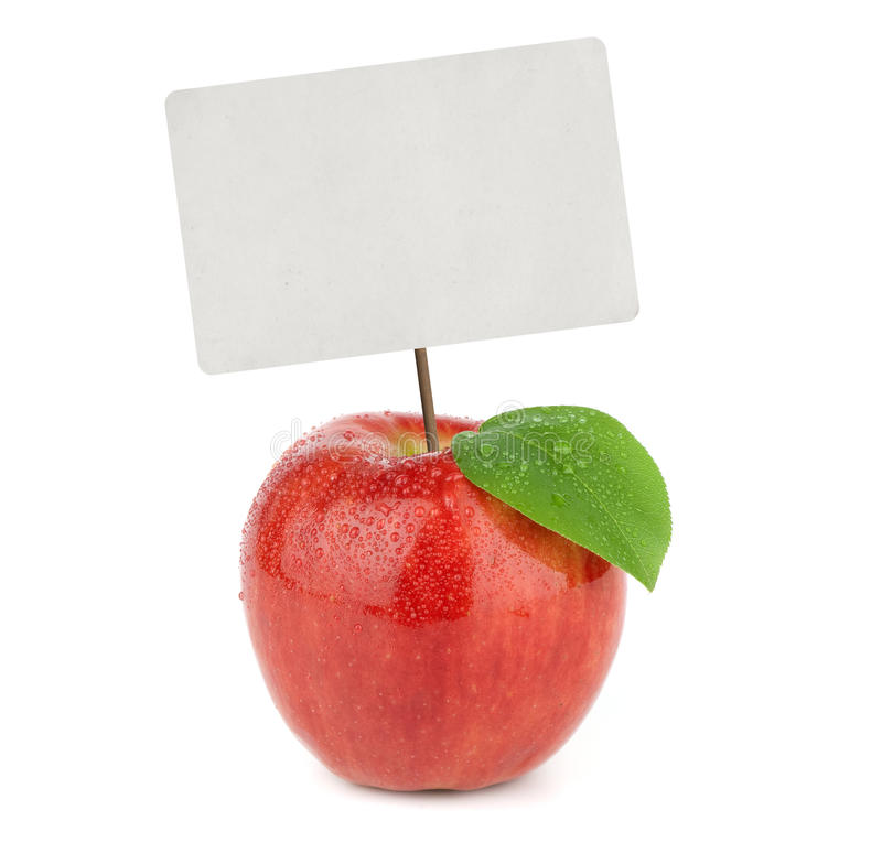 Ripe red apple with price tag royalty free stock photo