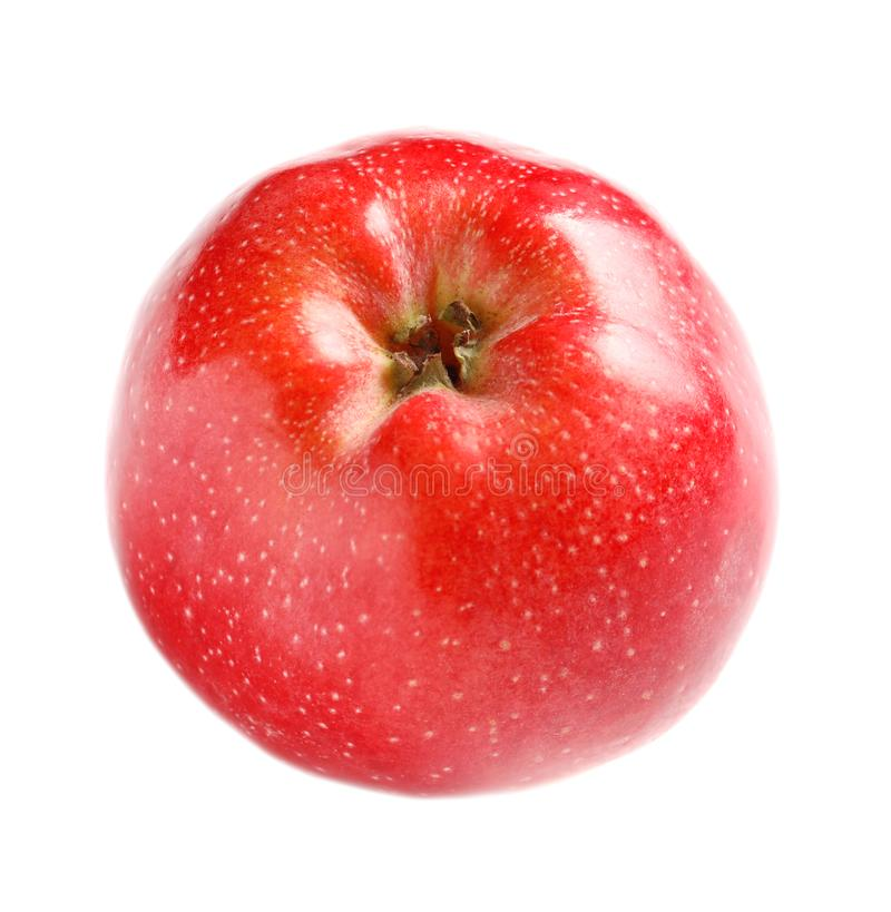 Ripe red apple. On white background royalty free stock photos