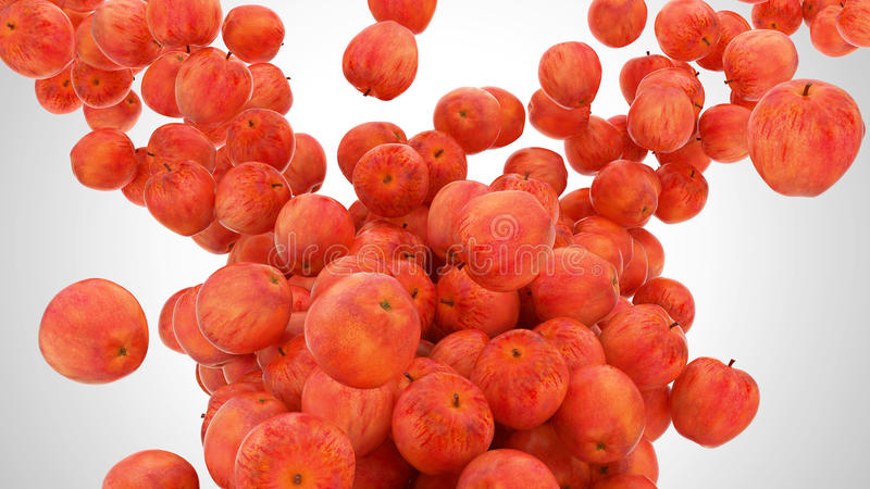 Ripe Red Apples Flow Stock Images