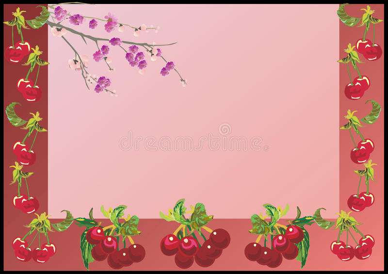 Ripe red cherry frame. Illustration with ripe red cherry frame royalty free illustration