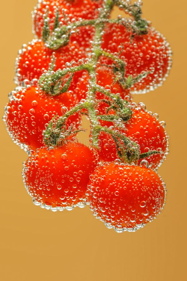 Ripe red cherry tomatoes stock images