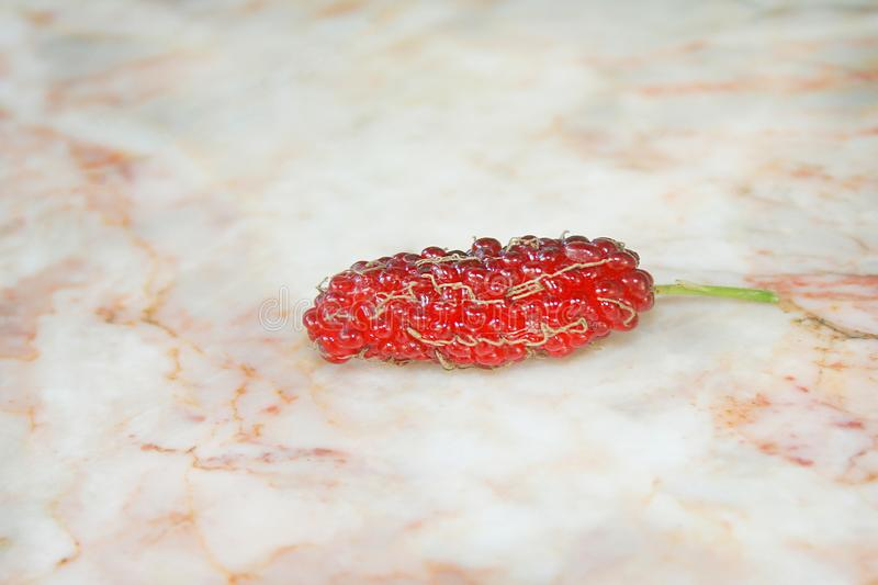 Ripe red mulberry fruits on marble table. Close up Ripe red mulberry fruits on marble table stock image