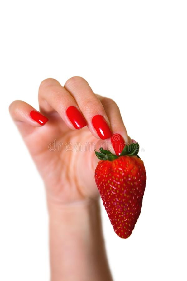 Ripe red strawberry in a beautiful female hand. stock photography