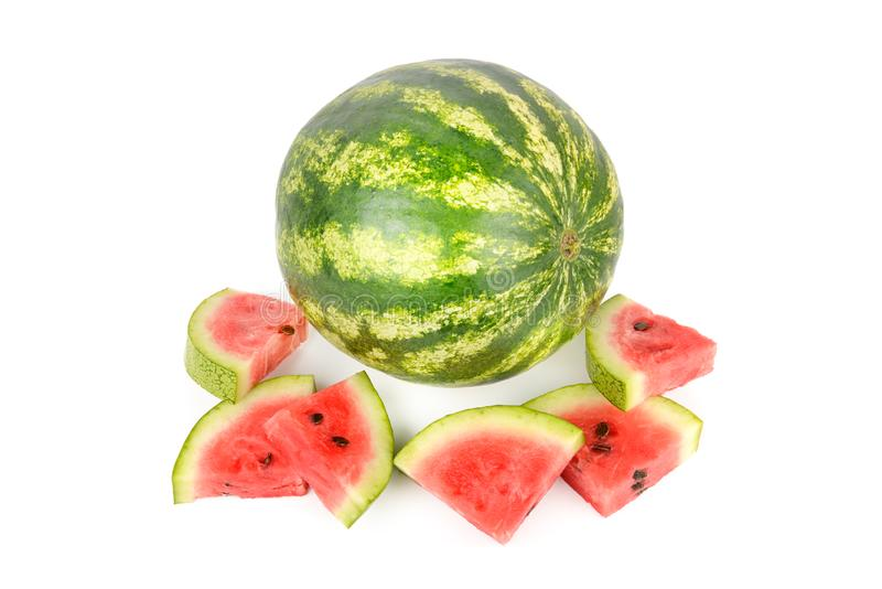 Watermelon and watermelons slices isolated on white background stock image
