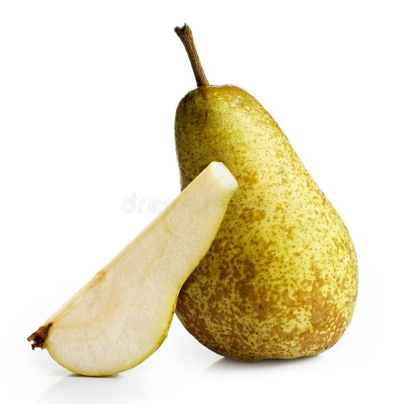 Single abate fetel pear next to a slice of pear isolated on whit stock photos