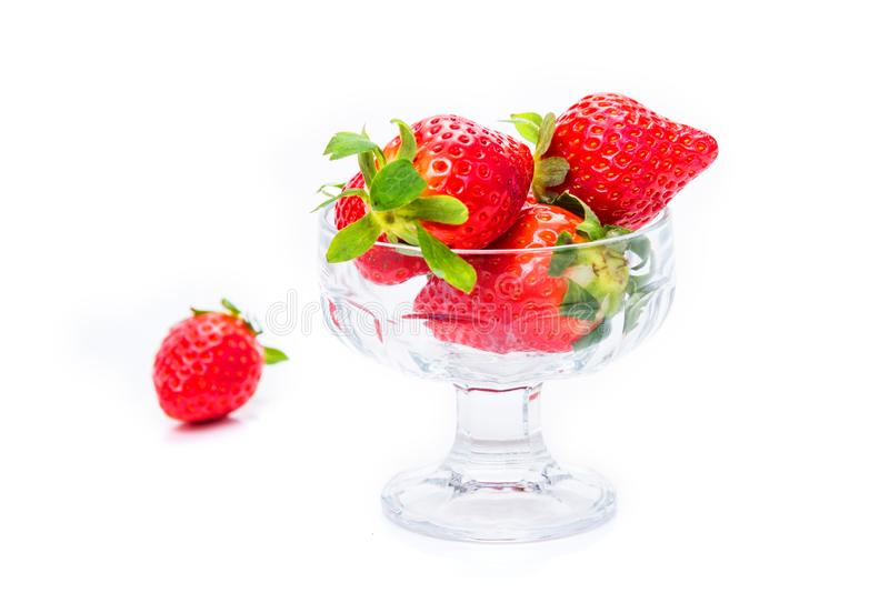 Strawberry with green leaves royalty free stock photography