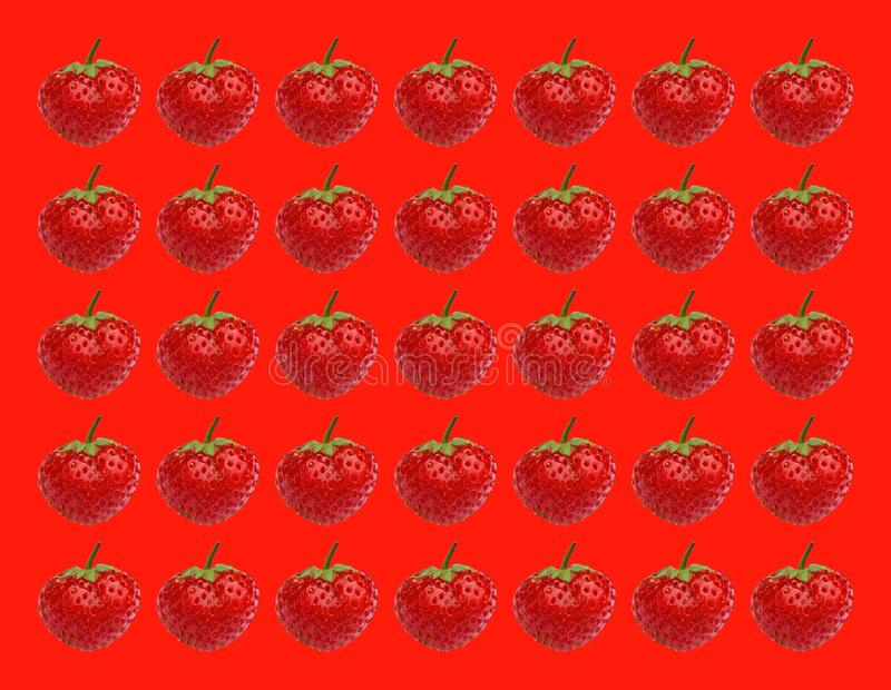 Ripe strawberries. Stereo photography effect. Strawberry wallpaper. royalty free stock photo