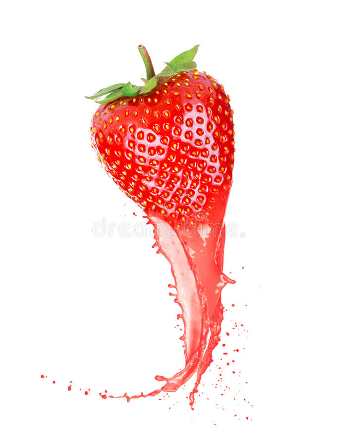 Ripe strawberry with juice stock photography