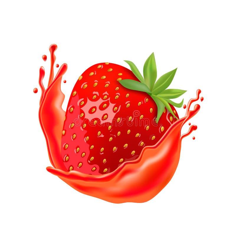 Ripe strawberry with juice isolated on white background stock illustration