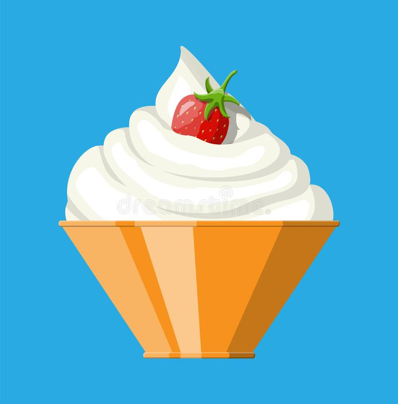 Ripe strawberry and whipping cream in bowl royalty free illustration