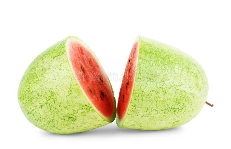 Ripe striped watermelon isolated on white royalty free stock images