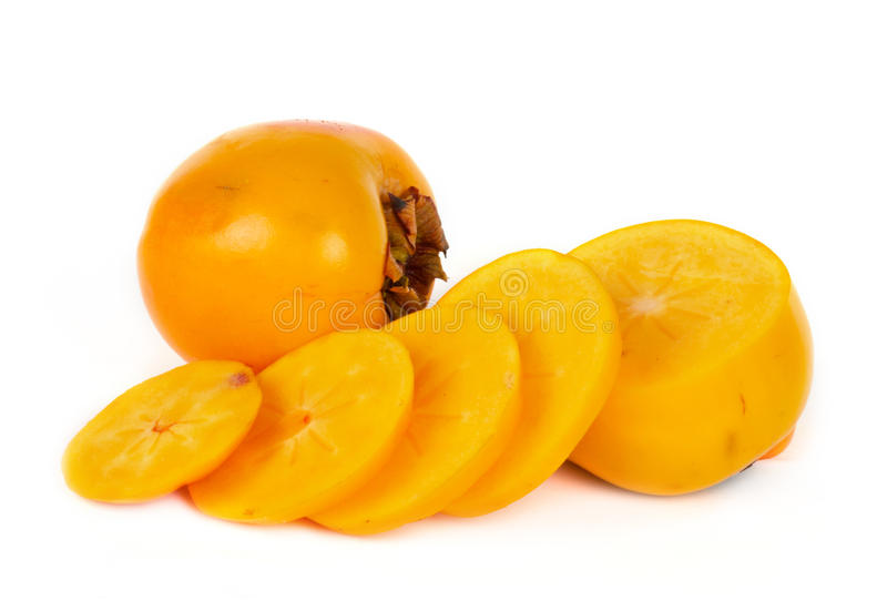 Ripe Sweet persimmon with slices on white