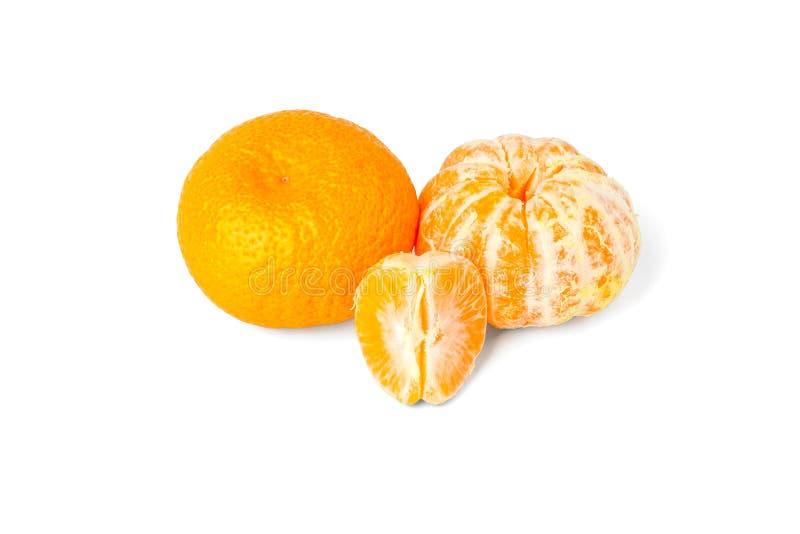 Ripe tangerines close up on a white background, isolated. Mandarin orange royalty free stock photo