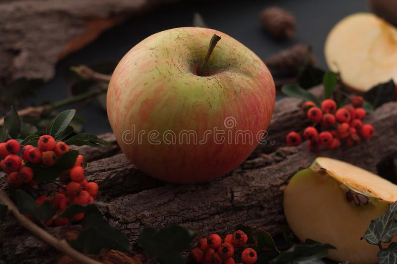 Ripe tasty apples on wooden table stock images