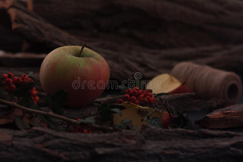 Ripe tasty apples on wooden table royalty free stock photo