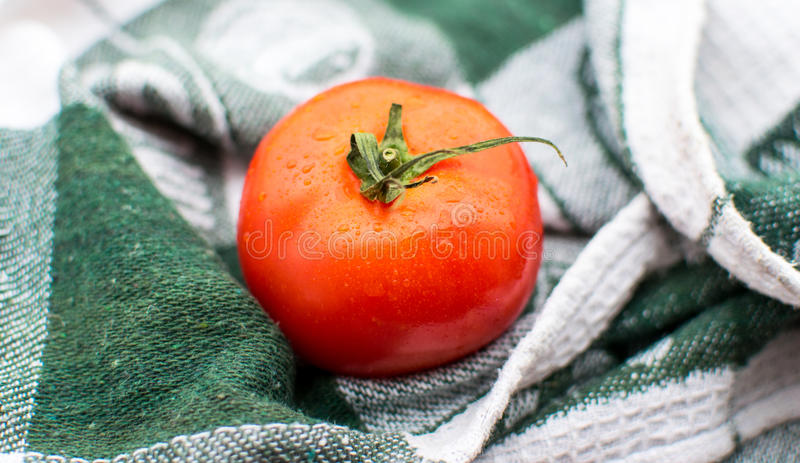 Ripe tomato on wooden board stock photo