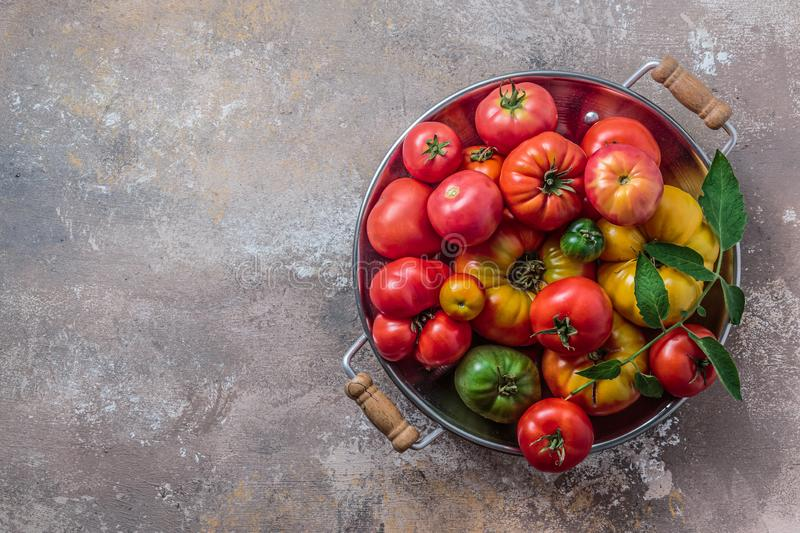 Ripe tomatoes in a pan on stone background, copy space.  royalty free stock images