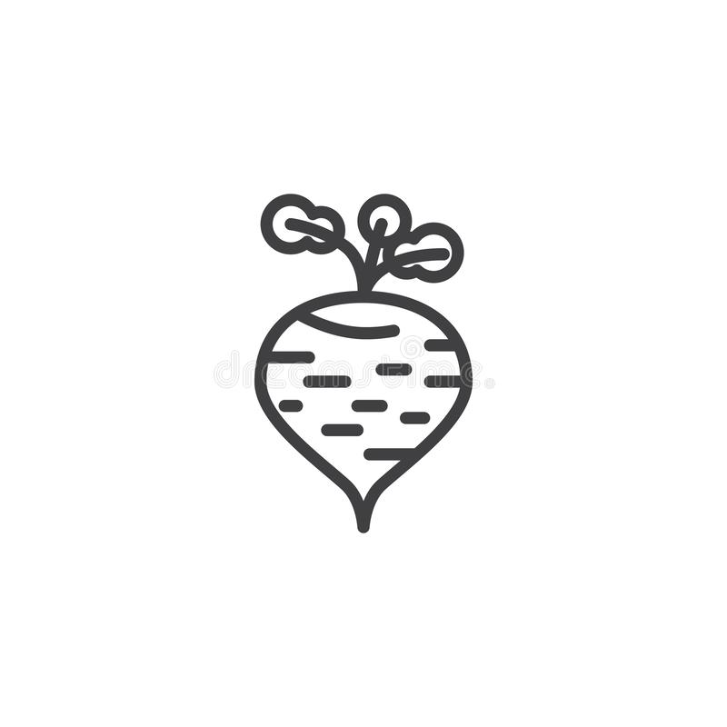 Ripe turnip beet line icon. Linear style sign for mobile concept and web design. Turnip radish outline vector icon. Symbol, logo illustration. Vector graphics royalty free illustration