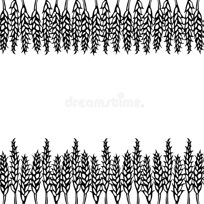 Ripe Wheat Spikelets Endless Brush. Border Ribbon of Malt with Space for Text. Farm Harvest Template. Realistic Hand Drawn Illustr. Ation. Savoyar Doodle Style stock illustration